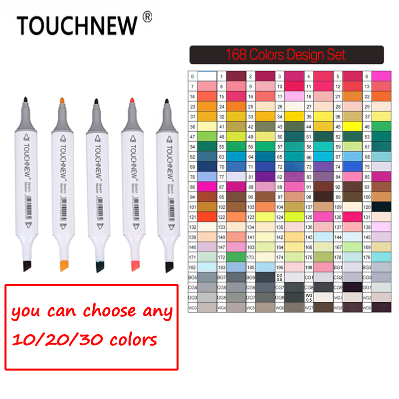 TOUCHNEW Art Markers 30/40/60/80/168 Colors Artist Dual Headed Marker Set Manga School Drawing TOUCHNEW Markers Pen Art Supplies touchnew 30 40 60 80 colors artist design double head marker set quality sketch markers for school drawing art marker pen