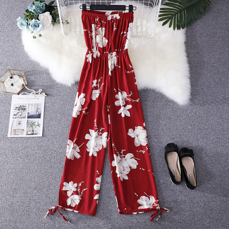 2019 Summer Floral Print Strapless Soft Women Rompers High Waist Side Slit Stretchy Cuff Women Casual Beach Jumpsuits 17