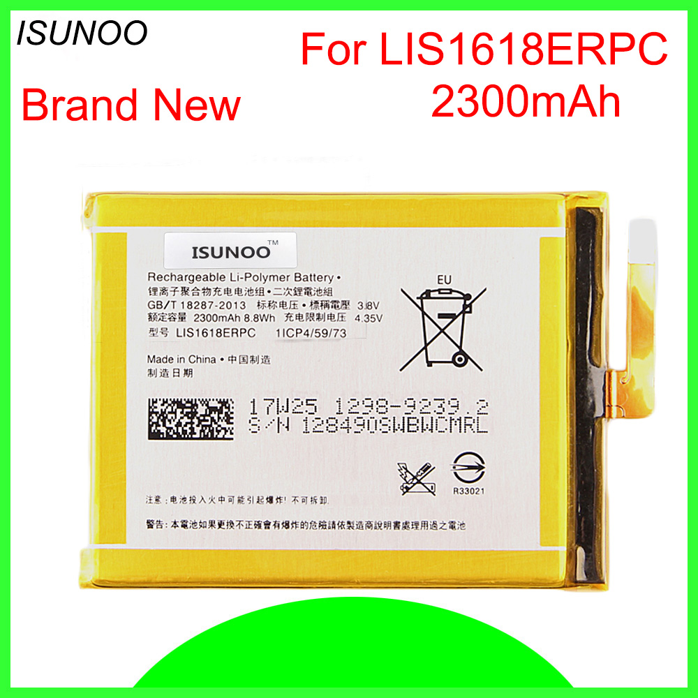 ISUNOO 5pcs/lot 2300mAh LIS1618ERPC Replacement <font><b>battery</b></font> for SONY <font><b>Xperia</b></font> <font><b>XA</b></font> (F3111) E5 F3116 F3115 F3311 F3112 F3313 <font><b>Battery</b></font> image