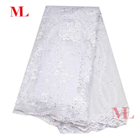 5yards Nigerian 2018High Quality african   lace   fabric French   lace   fabric white net rhinestones embroidery mesh swiss tull   lace