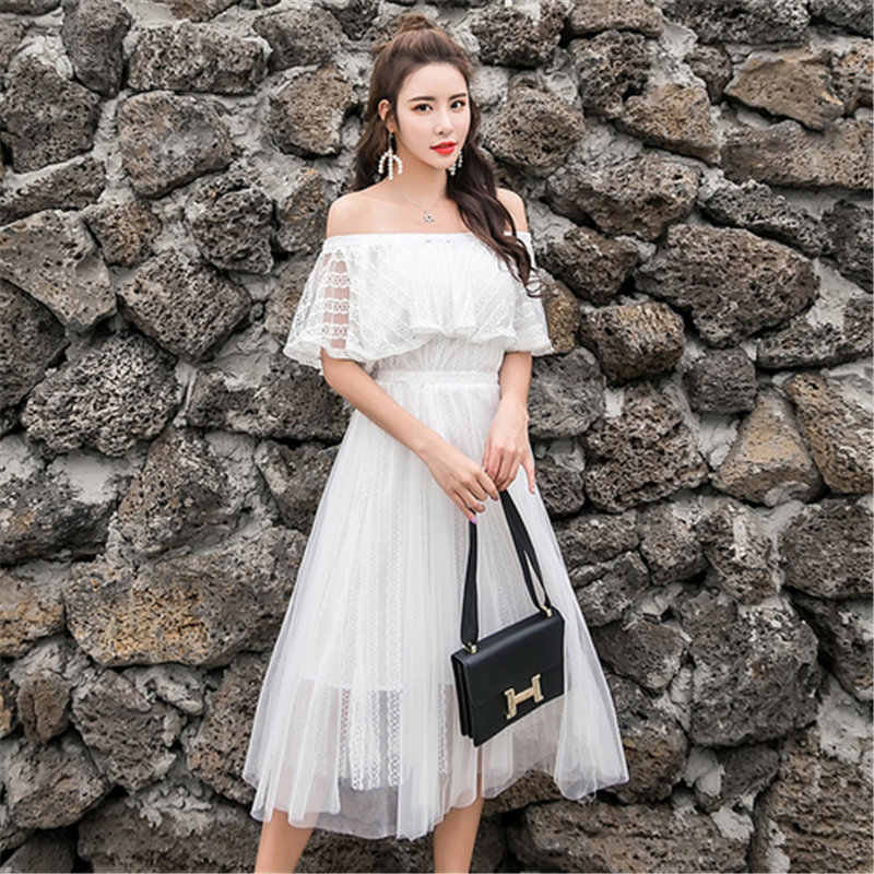 7a062160d9 ... summer women's dress Large size fashion lace gauze beach holiday  Ruffles shoulder long dress Bohemia sexy ...