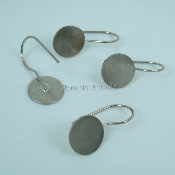 Blank Clip Wire Hook Earrings Settings Flat Circle Glue Pad ...