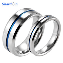 SHARDON Lover's Beveled Tungsten Carbide High Polished Wedding Band Ring  Blue Line Engagement Ring Wedding Band for couples