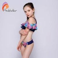 880f764e12 Andzhelika Bikini Girls Swimwear Summer Print Leaves Ruffle Bikinis Set  Two-Piece Suits Children's Swimwear ...