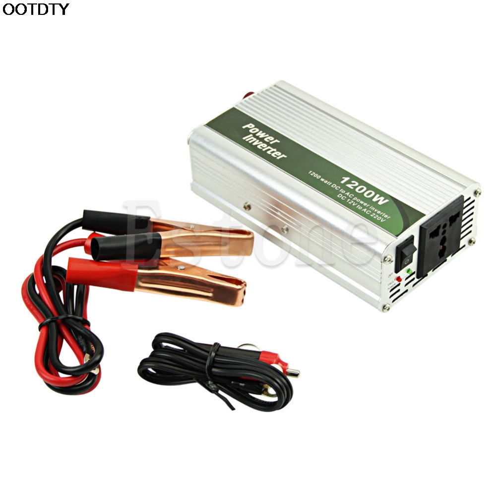 OOTDTY <font><b>1200W</b></font> <font><b>DC</b></font> 12V to <font><b>AC</b></font> 220V Car Power Inverter Charger Converter For Electronic image