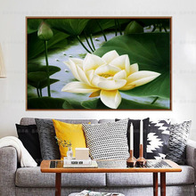 Square Diamond 5D DIY Diamond Painting White lotus Embroidery Cross Stitch Rhinestone Mosaic Painting Decor
