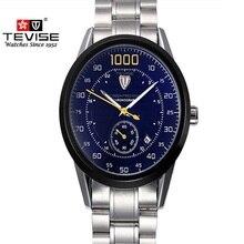 Mens Relojes de Primeras Marcas de Lujo TEVISE Relojes Mismo-Viento Automático Mecánico Luminoso Dial Grande Relojes de Pulsera Relogio masculino
