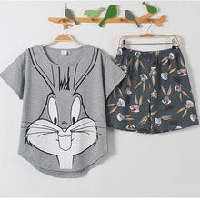 2017 Cotton Cute Women Pajamas 2 Pieces Set XXL plus size Rabbit Pyjama Short Tops+ short pants or short tops+ calf-length Pants
