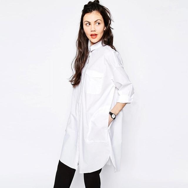 2017 Spring women long shirts Cotton White Shirt Casual Streetwear ...