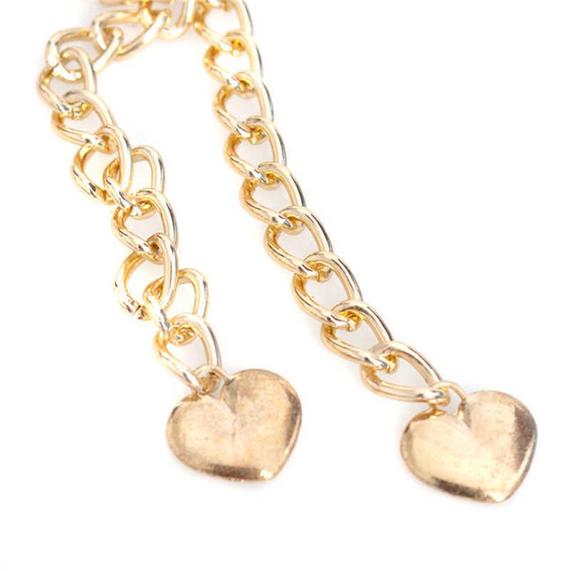1PC 66cm ceintures pour femmes gilets Punk plein métal miroir taille ceinture métallique or plaque large Cummerbunds avec chaînes dame