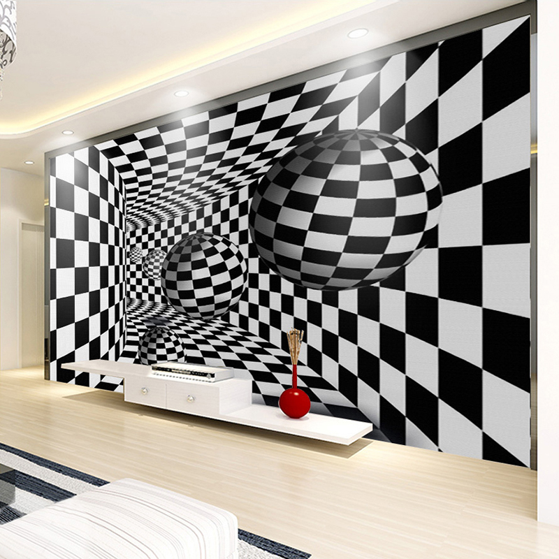 Custom Photo Mural Wallpaper Modern 3D Geometric Black White Lattice Ball Living Room Sofa TV Background Wallpaper For Walls 3D aa wooden watches w1 orange aa wooden watches