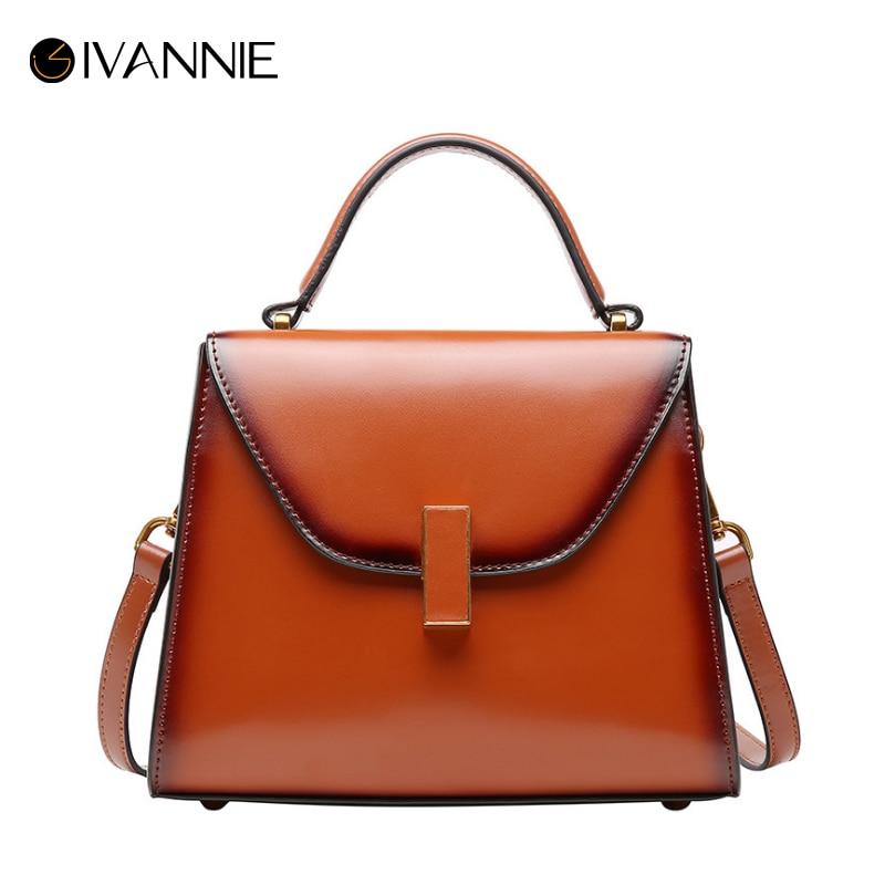98dfded60 Ivannie Retro Bolsas Moda green apricot Mano Diseñador Lujo Marca Mujeres  Cuero Bolsa Brown Mensajero red Feminina black Auténtico 4IvBZnIrq0