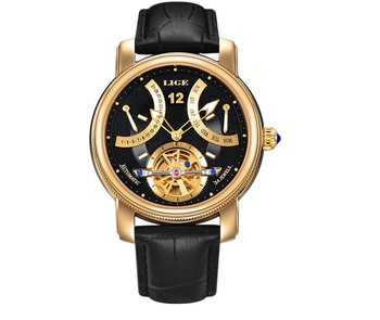 2019 marque de luxe LIGE montre automatique homme étanche mode décontracté montres hommes calendrier en cuir or horloge relogio masculino