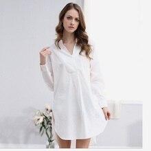 Sexy Women Dress Casual White Cotton Lingerie Sleepshirts Women Nightgown Loose Women Long Shirts Sleepwear Night Shirts
