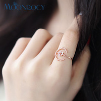 Free Shipping Jewelry Wholesale 18k Rose Gold Plated Austrian Crystal Rings Party Ring Moon Heart Open