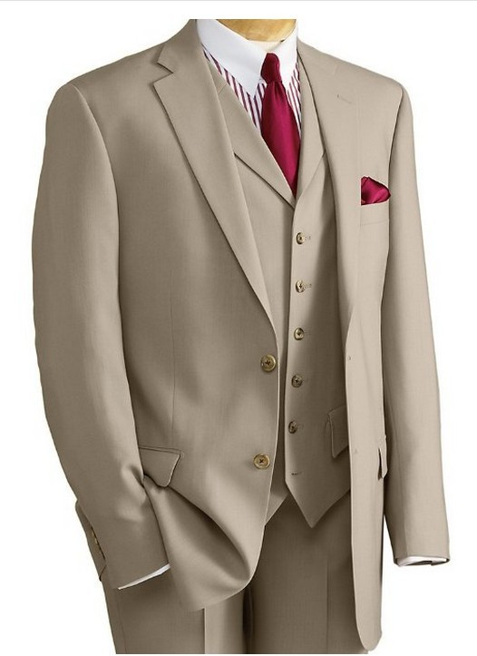 Yeni Varış Damat Smokin Groomsmen Haki Düğün / Akşam Yemeği / - Erkek Giyim - Fotoğraf 1