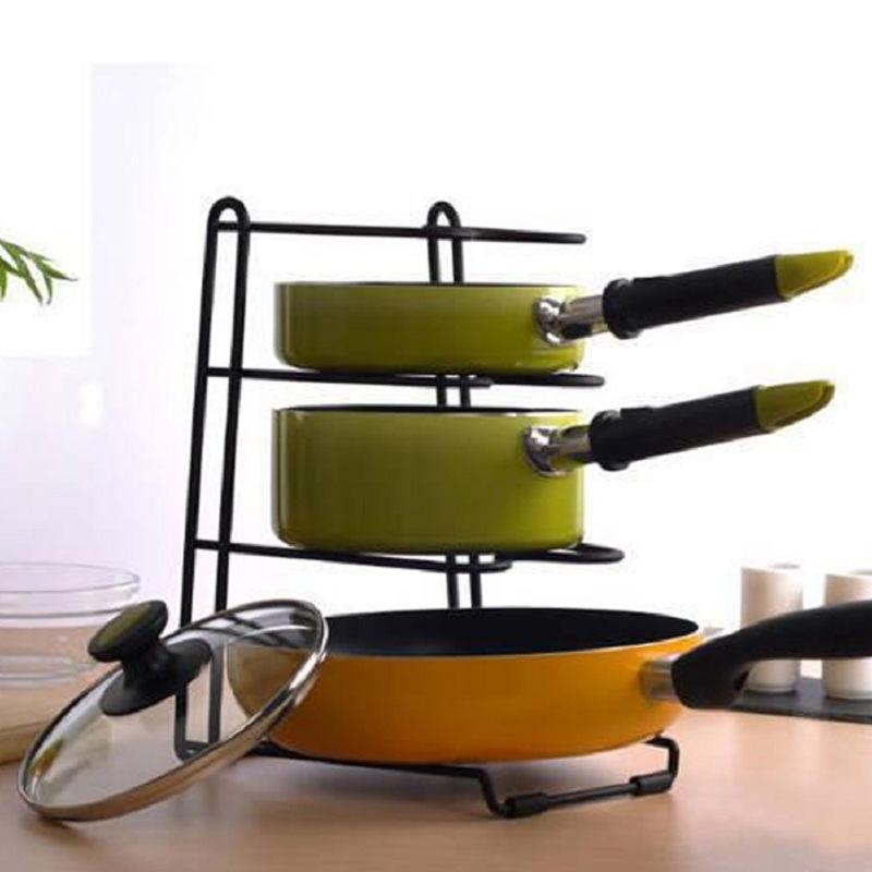 Pan Shelf Pan Cover Stand <font><b>Kitchen</b></font> Storage Holder Multifunction Storage Racks <font><b>Four</b></font> Layers Dish Rack Shelves <font><b>Kitchen</b></font> Pan Racks