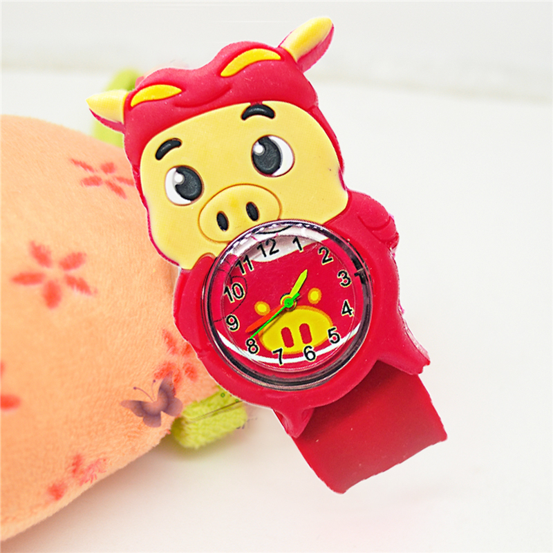New HBiBi Brand Children Watch Cartoon Baby Toy Pig Kids Watches For Girls Boys Gift Student Clock Slap Hand Child Wristwatches