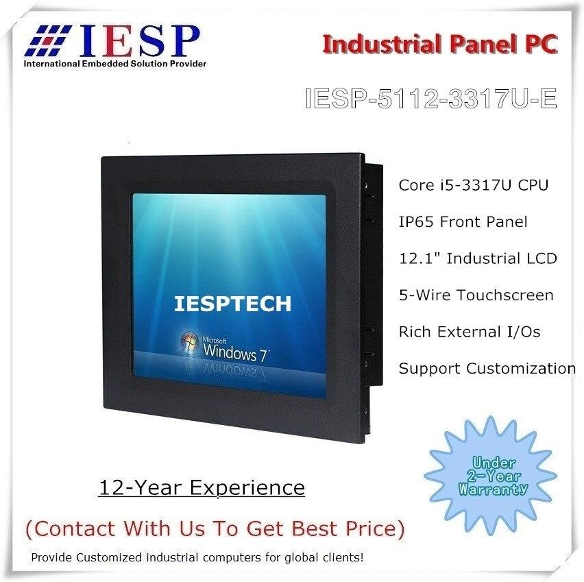 PC tactile industriel de 12 pouces, processeur Core i5, 4 go DDR3, disque dur 500 go, HMI industriel, fournir des services de conception personnalisés