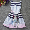 I LEEBAY Slim Girl Party Dress Fashion Print Sleeveless Teenager A-line Dresses Children Formal Costume Girls Birthday Dresses