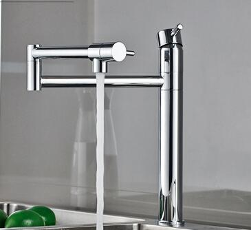 fashion high quality chrome brass foldable kitchen faucet hot and cold kitchen sink faucet 360 degree rotating water tap цена и фото