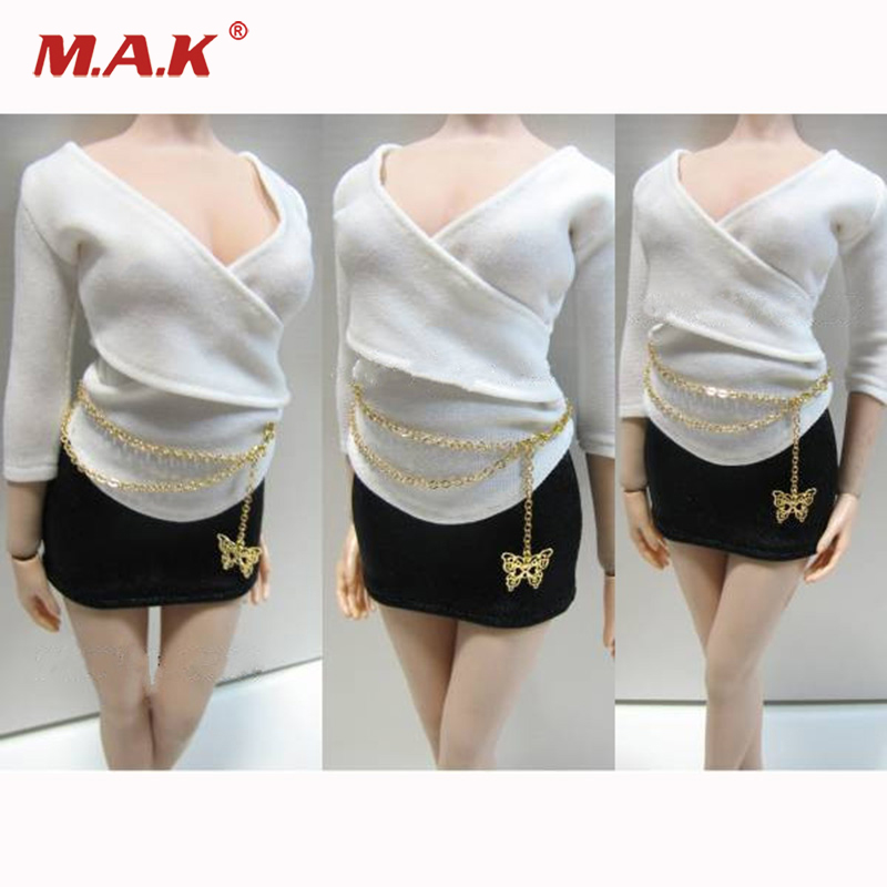 1/6 Scale Sexy Clothes Suites Shirt Waist Chain Skirt Set for Female Action Figure женские чулки sexy 6
