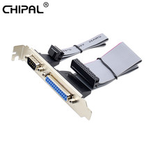 CHIPAL For PCI Slot Header Serial DB9 Pin With Parallel DB25 Pin Cable 28.5cm With Bracket For Parallel LPT Printer COM Serial(China)