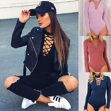 2016 New Sexy Choker Rompers Womens Jumpsuit Bodysuits Autumn Long Sleeve Lace Up Ribbed Bodycon Overalls