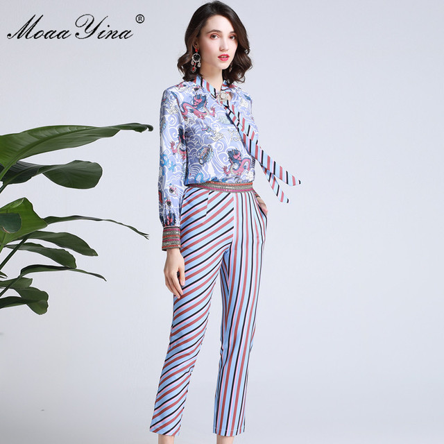 MoaaYina Fashion Designer Set Spring Women Bow collar Totem Print Elegant Shirt Tops+Stripe Print Pencil pants Two-piece suit