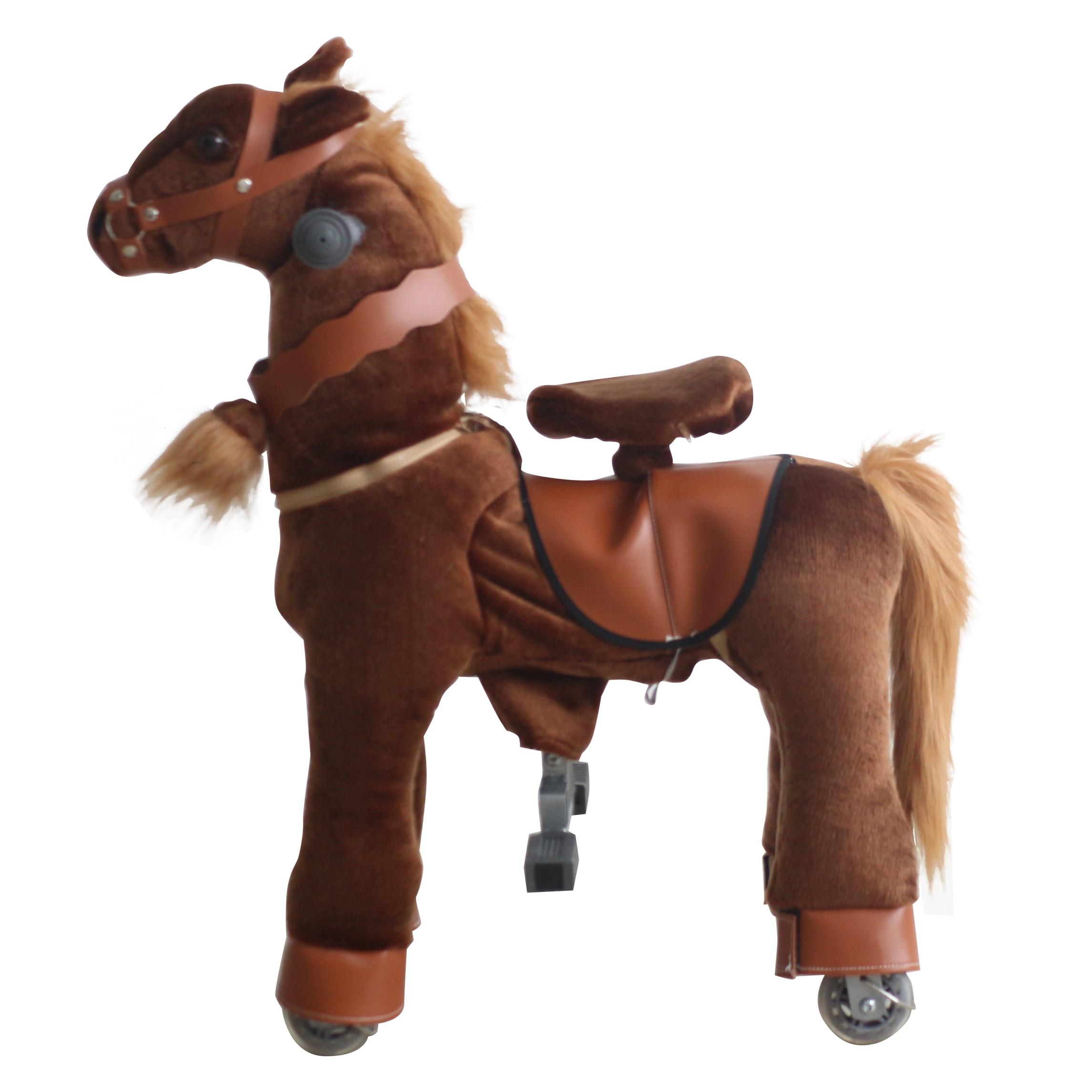 Équitation Animal mécanique jeu de course de chevaux monter sur des jouets de cheval pour les enfants âgés de 3-7 ans brun profond petit poney cadeaux pour enfants - 2