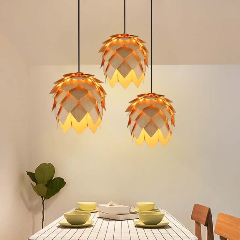 Modern Art Oak Pine Cone E27 Pendant Lights Art Handmade Smart Puzzle Restaurant Bedroom Bar Cafe Fixtures Luminaire