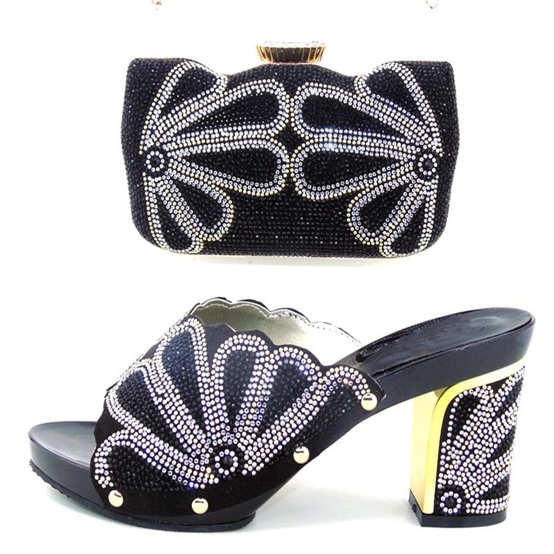 ФОТО 2016 Italian Shoe And Bag Set For Party black Rhinestone Evening Shoe African High Quality Sandal Matching Bags Set ! WDL1-4