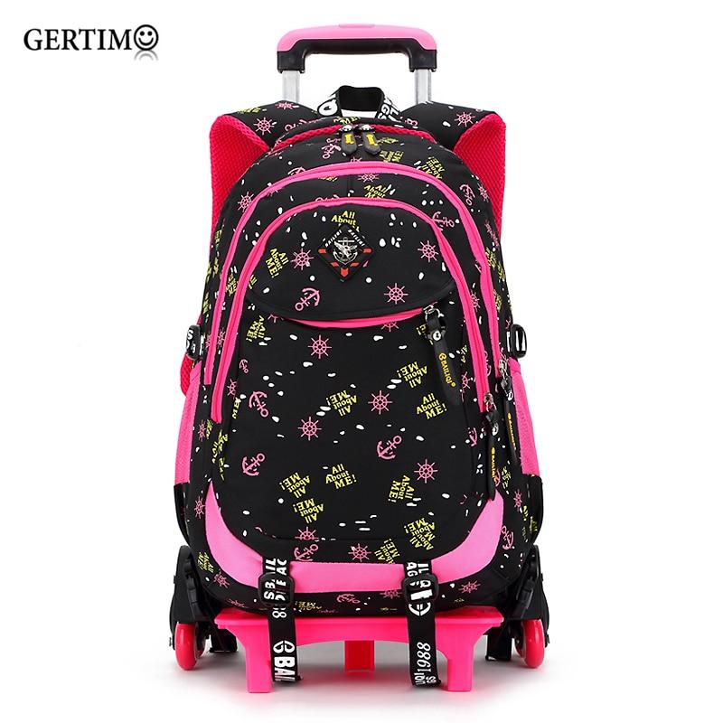 2/6 roues haute qualité filles chariot sac à dos cartable sacs orthopédiques pour enfants chariot cartable garçons sac à dos
