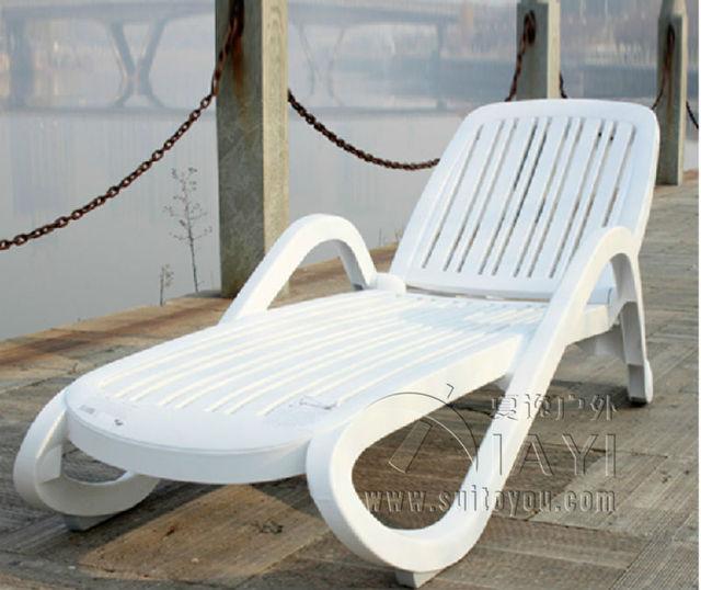 Mobília Ao Ar Livre cadeira de praia espreguiçadeira de plástico cor Branca para piscina Pátio móveis de transporte por mar