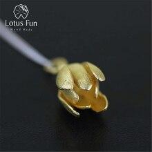 Lotus Vui Thật Nữ Bạc 925 Handmade Mỹ Trang Sức Hoàn Hảo Hoa Sen Thiết Kế Mặt Dây Chuyền mà không Vòng Đeo Cổ cho Nữ Femme