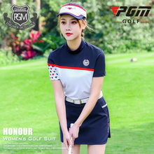 PGM Golf Patchwork Skirt Sets Women Short Sleeve T-shirt Safetly Golf Tennis Skirt Summer Fashion Comfortable Golf Apparel D0742(China)