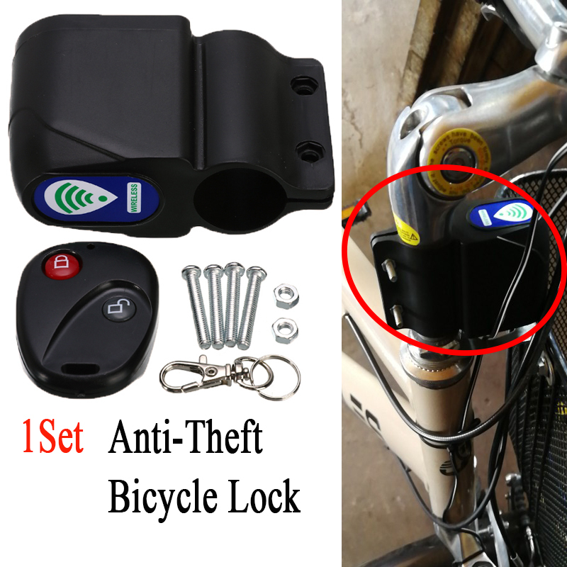 Anti-Theft Bicycle Lock Bike Cycling Security Lock Wireless Universal Bicycle Alarm Lock Vibration <100mA Remote >105dB