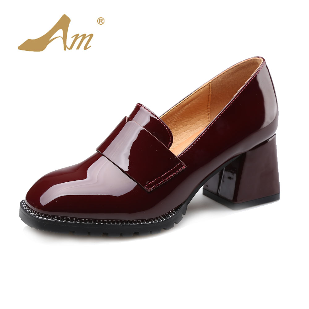 Ame 2017 Spring new fashion patent leather casual pumps retro British style brand shoes thick medium