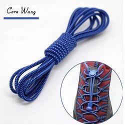CORA WANG1 perezosos par de cordones de los zapatos de la zapatilla de deporte elástico cordones de los zapatos de los niños seguro de zapato elástico de encaje estampado de ASL666B