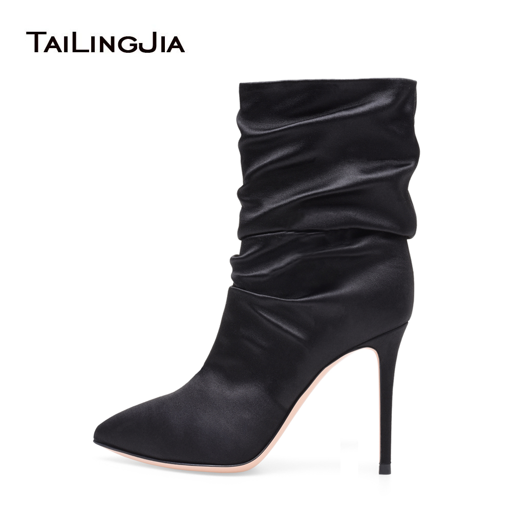 цены Women White High Heel Slouch Boots Black Satin Ankle Booties Pointed toe Slip on Wrinkled Stylish Short Boots Evening Pumps