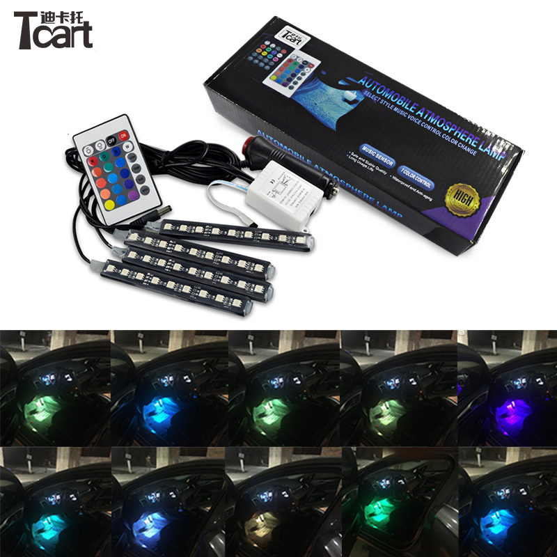 Tcart <font><b>4pcs</b></font> 5050 9SMD <font><b>Car</b></font> <font><b>LED</b></font> <font><b>Strip</b></font> <font><b>RGB</b></font> Atmosphere Interior <font><b>Light</b></font> Auto Decorative Lamp Remote Control For Volkswagen Golf 4 6 mk4 image