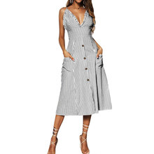 Womens Spagrtti Strap Beach Dress Striped Ruffle Bardot Button Through Ladies V Neck Long Maxi Summer Holiday Sundress button through calico dress