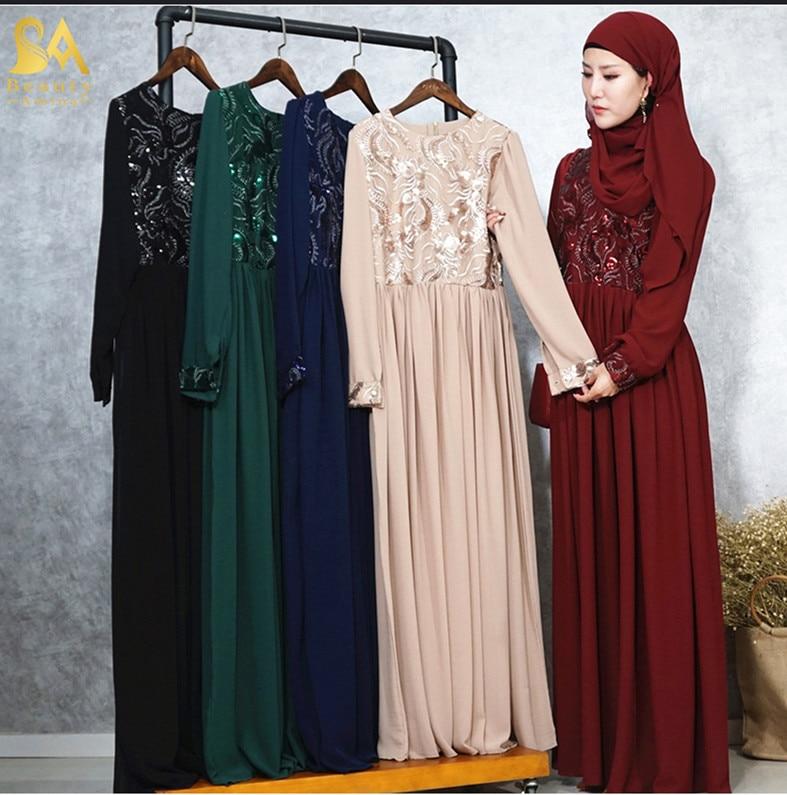 f869bbcd94114 US $39.38 40% OFF|Luxury Embroidery Abaya Lace Stitching Muslim Maxi Dress  Sequins Cardigan Long Robes Jubah Kimono Ramadan Arab Islamic Prayer-in ...