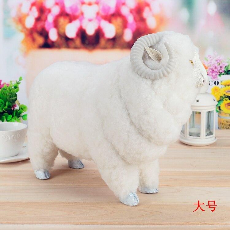 Big simulation moutons jouet en plastique et fourrure blanc grand moutons poupée cadeau environ 38x15x30 cm a47