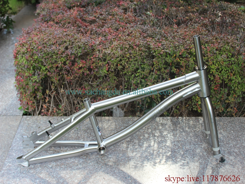 titanium BMX bike frame with taper head tube and BMX dropouts and BSA thread BB shell taper fork handle bar(China)