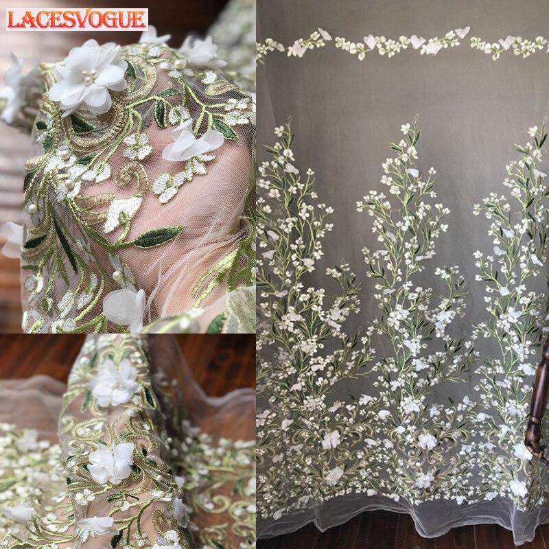 LACESVOGUE 1 yard/lot width130cm Beaded Mesh embroidered Lace fabrics Curtain auxiliary fabric Wedding fabrics LAVO507