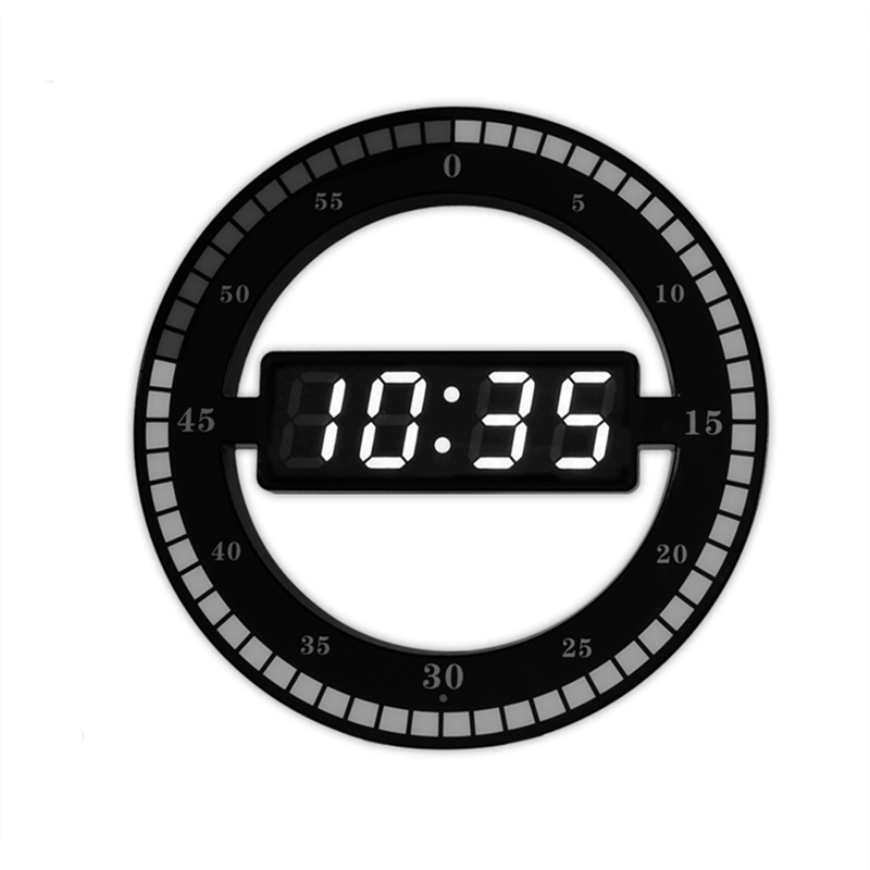 New listing 3d hollow led digital wall clock with automatic adjust the brightness Electronic run seconds clock house use clock image