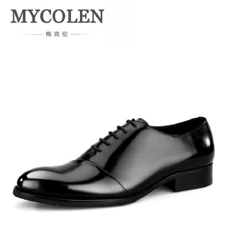 MYCOLEN Men Leather Shoe Custom Handmade Genuine Calf Leather Men Dress Shoe Luxury Brand Business Party Oxfords Shoes For Man