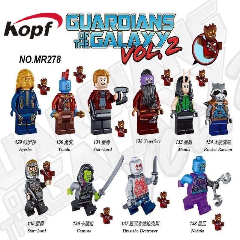 Guardians of the Galaxy Rocket Racoon Star-Lord Nebula Drax the Destroyer Yondu Taserface Gamora Building Blocks Kids Toys MR278 guardians of the galaxy new guard vol 3