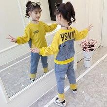 Коллекция года, весенне-осенние комплекты одежды для детей, комплект из пуловера и штанов, футболка с длинными рукавами и джинсы, повседневные спортивные От 4 до 15 лет для девочек